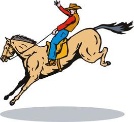 Aluminium Prints Wild West Rodeo cowboy