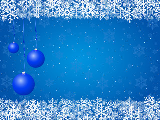 Christnas background snowflakes and balls blue