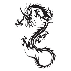 Decorative dragon silhouettes vector