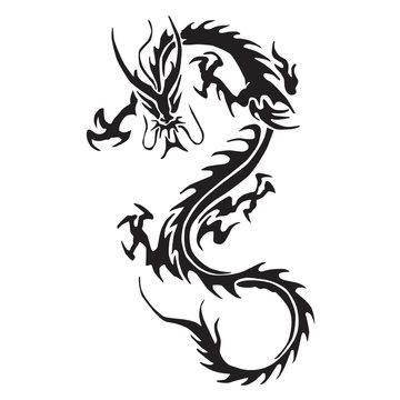 Decorative dragon silhouettes vector
