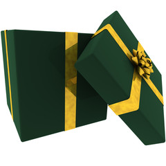 Rendered Open Green Present with Golden Bow
