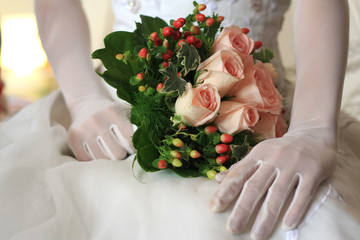 Bride with pink roses 2