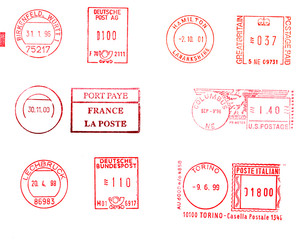 Postage meters, rubber stamps, mail labels isolated over white