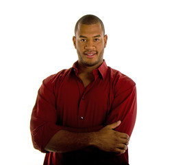Black Man in Red Shirt Arms Crossed