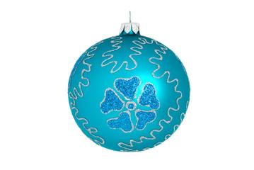 Blue christmas ball isolated