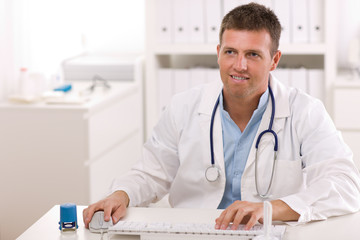 Doctor working at office