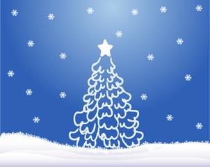 Christmas tree ,blue background
