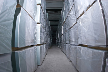 The tunnel from the goods in a warehouse