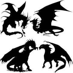 dragons silhouettes vector