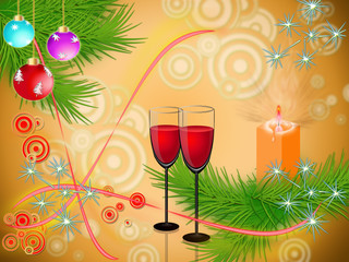 Goblets with drink on festive new year's background