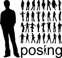 high quality traced posing people silhouettes vector