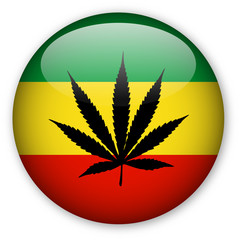 Rasta Flag Button with Cannabis Leaf