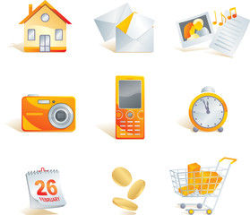 Icon set - web, commerce and electronics items.