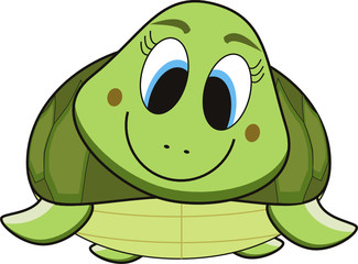 vector cartoon of a green turtle