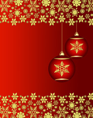 Christmas ornaments with golden snowflakes