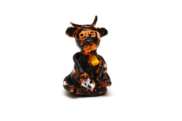 Black cow, clay toy