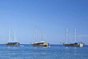 three sailboats in sunny weather