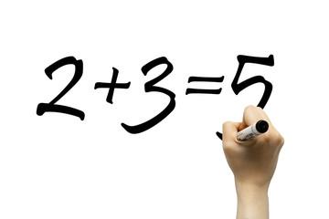 Hand writing simple math formula on a whiteboard