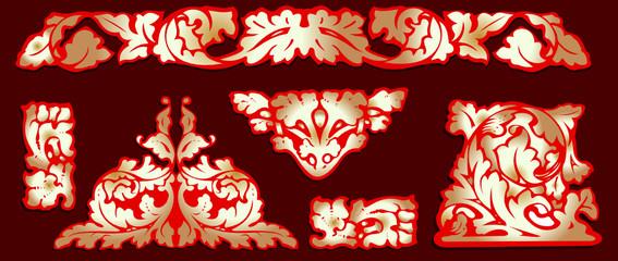 Baroque Red Gold Clip-art. More In My portfolio.