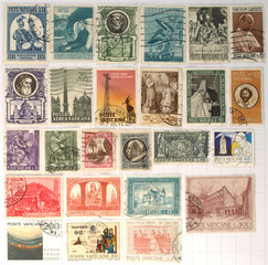 Range of Vatican city postage stamps