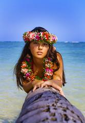 beautiful young polynesian girl in hawaii on a palm tree