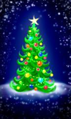 Magic christmas tree on a dark-blue background