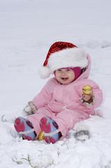 Happy Baby Girl with santa's hat