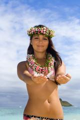 polynesian girl in bikini on the beach in Hawaii