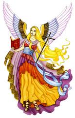 Engel mit Bibel und Kreuz