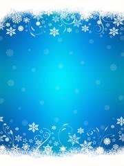 Sfondo blu con fiocchi di neve