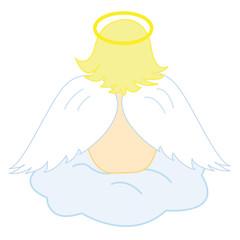 Baby angel sitting on fluffy cloud