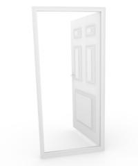 3d Door Open to Blank Space