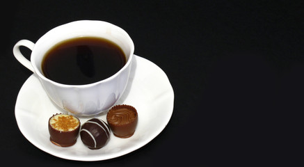 chocolate prealines and coffee