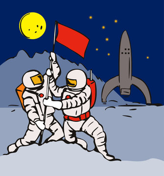 Astronaut planting flag in the moon base