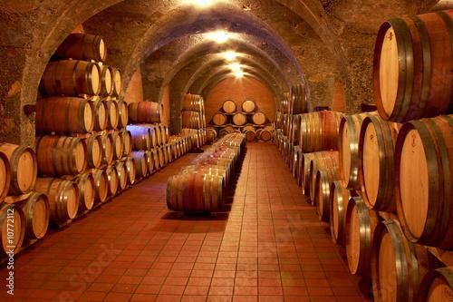 Fototapete Weinkeller, Eichenfässer, Barrique, Rotwein, Toskana