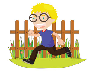 running boy in front of fence