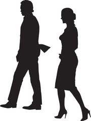 Walking couple silhouette vector