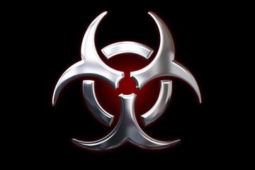 Biohazard metallic sign