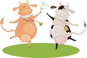 Cartoon Dancing Cows