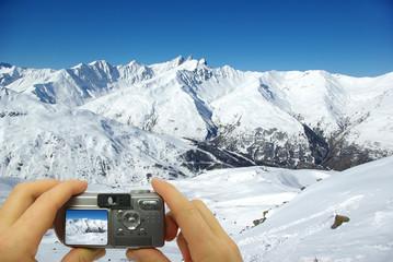 Photo montage snowy peaks