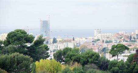 Immeuble en construction et arbres, Marseille.