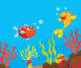 Poster Submarine reef fish illustration