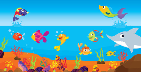 Printed roller blinds Submarine tropical fish