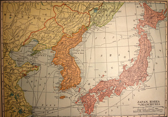 map,korea,japan,manchuria,antique,vintage