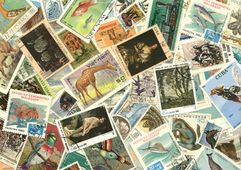 collection of vintage stamps
