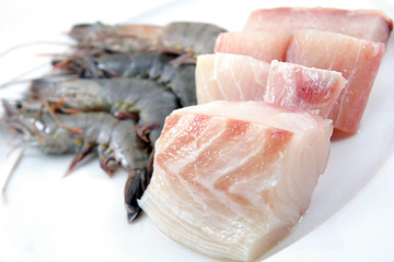 High quality raw fresh prawns and snapper fish meat