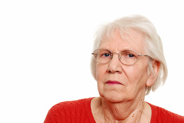 Senior woman wearing glasses isolated
