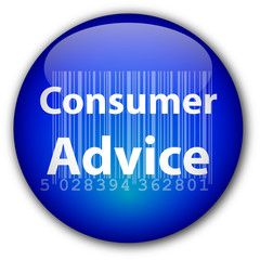 """""""Consumer Advice"""" button with barcode"""