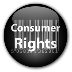 """""""Consumer Rights"""" button with barcode (black)"""