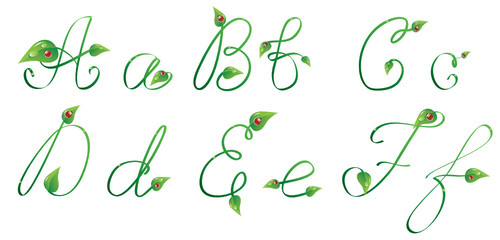 Handwrited text with leaves and ladybug. Letters from A to F